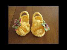 Sandalias de ganchillo de bebé. Crochet baby sandals. Gali Craft - YouTube