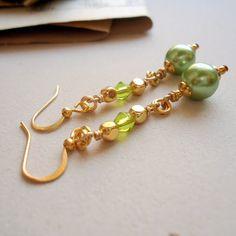 Green Pearl Earrings Bridesmaid Jewelry Wedding by cdjali on Etsy, $15.00