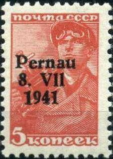 """Почтовые марки оккупации Эстонии - Пярну, надпечатка """"Pernau 8.VII 1941"""" на марках СССР,"""