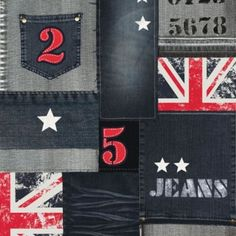 Blue / Red / White - J25301 - Jeans - Patchwork - Union Jack - Stars - Muriva Wallpaper
