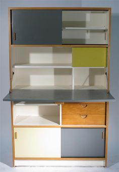 Frank Guille; Laminated Wood, Glass and Metal Secretary for Kandya, 1950s.