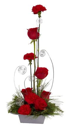 Red centerpiece arrangement has added style with wire.