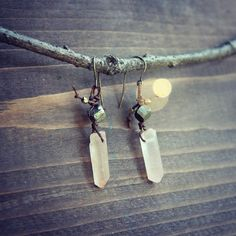 Crystal stone earrings, from Etsy, lost-in-the-woods Stone Earrings, Drop Earrings, Lost In The Woods, How To Make Beads, Rough Cut, Stones And Crystals, Quartz, Brass, Jewels