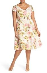 Adrianna Papell Floral Print Matelassé Fit & Flare Dress (Plus Size)