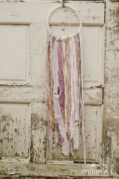 Bohemian Wedding Dreamcatcher, White, Pastel, Pale Pink, Shabby Chic, Rustic, Vintage Lace, Wall Hanging, Gypsy, Wedding Gift, Home Decor - pinned by pin4etsy.com