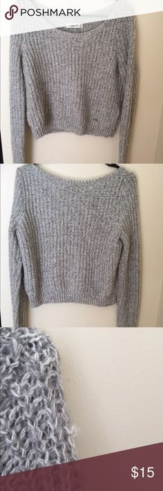 Grey fuzzy cropped A&F sweater! This is a super soft fuzzy sweater from Abercrombie and Fitch. It has been lightly worn and has a small snag on the shoulder. All reasonable offers will be accepted! Abercrombie & Fitch Sweaters Crew & Scoop Necks