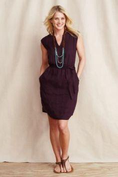Women's Linen Slit Neck Dress from Lands' End
