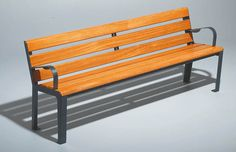 Bordeaux timber and steel bench great for urban and rural street scenes Street Furniture, Bench Seat, Outdoor Furniture, Outdoor Decor, Bordeaux, Urban, Steel, Home Decor, Decoration Home