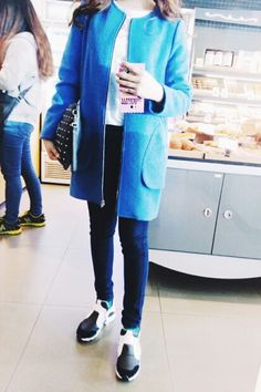 Daily look with blue coat