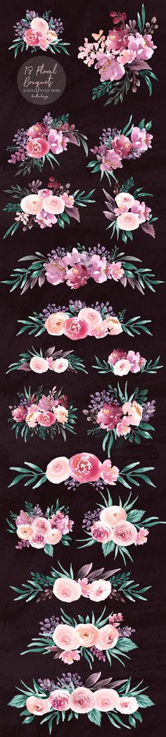 Lust-A Super Sweet and Romantic Floral Set. This package is a large collection of floral beauties that will definitely enhance your design. Caran D'ache, Art Tips, Floral Watercolor, Drawing Reference, Cool Art, Character Design, Artsy, Graphic Design, Inspiration