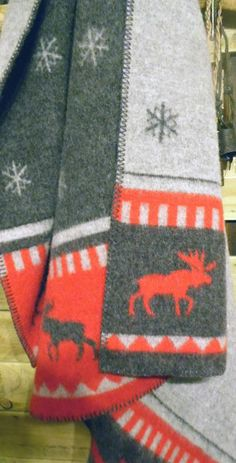 Chalet Blanket - a double thick 100% wool blanket with deer and snowflake design