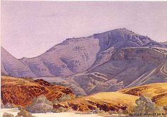 Mount Hermannsburg by Albert Namatjira. Namitjira was an Australian Aboriginal artist (1902-1959) who was capable of being a great visual poet when depicting the desert country of central Australia. Every mountain, every valley held for him the stories of his ancestors and his love for the land is evident in his work. This watercolor probably dates from the 1950's