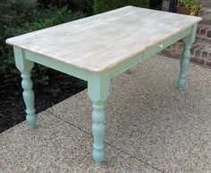 Beautiful Duck Egg Blue and Old White Pine Chalk Paint Dining Table