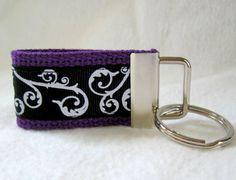 Scroll Mini Key Fob Purple Black Small Swirl Key by CreativeJenV (Accessories, Keychain, Fabric, fabric key fob, fabric keychain, mini key fob, mini key chain, mini keychain, scroll mini key fob, scroll mini keychain, small scroll key fob, scroll keychain, swirl key chain, swirl key fob, purple black scroll, purple black swirl)