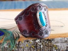 Leather Bracelet // Leather Cuff Bracelet // by moonandforgestudio