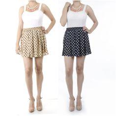 ebclo - Chiffon Black & Taupe Polka Dot Skater Mini Skirt Elasticized Waist NEW $13.00 Free Domestic Shipping
