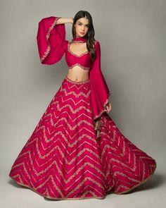 Pretty pink 💕 Chevron Pattern Embroidery Silk Lehenga choli - Source by - Indian Gowns Dresses, Indian Fashion Dresses, Indian Designer Outfits, Indian Fashion Designers, Lehenga Choli Designs, Saree Blouse Designs, New Lehenga Design, Mode Bollywood, Lehnga Dress