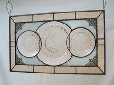 Stained Glass Panel Antique Pink Depression by HeritageDishes
