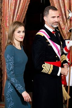 Spanish King Felipe VI and Queen Letizia attend the Pascua Military ceremony 2015 at the Royal Palace in Madrid, Spain