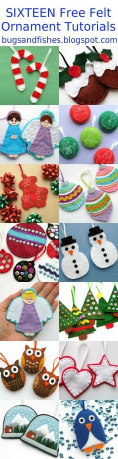 Sew lots of felt ornaments this Christmas with these 16 free DIY sewing tutorials! (Diy Ornaments Sewing)