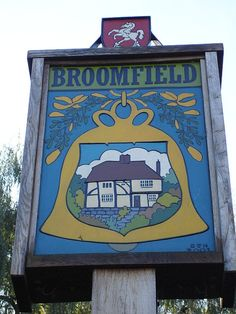 Broomfield village sign (C) Penny Mayes Essex England, Kent England, Town Names, English Village, Place Names, Decorative Signs, Name Signs, Shop Signs, Prehistoric