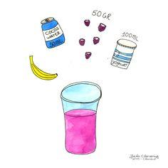 Frambozen smoothie. Illustratie door Jiska Clevering-Hartsuiker. Gemaakt met fineliners en ecoline. Sterrig verzorgt illustratieworkshops.