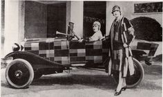 Sonia Delaunay And Matching Citroen, 1925    Fashion designer Delaunay customised this Citroen B12 boat-tail to match her clothing in 1925