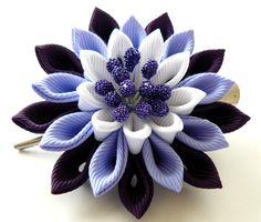 Kanzashi fabric flower hair clip. Plum, iris and white.
