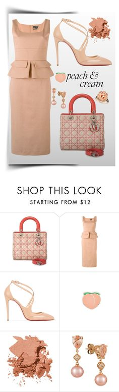 """Peaches&Cream"" by ellenfischerbeauty ❤ liked on Polyvore featuring Christian Dior, Tom Ford, Christian Louboutin, PINTRILL, Bobbi Brown Cosmetics and LE VIAN"