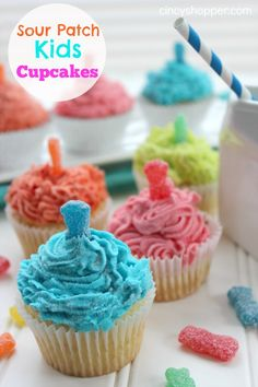 Sour Patch Kids Cupcakes Recipe. A fun and easy cupcake for birthday parties or picnics this summer.