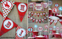 COWBOY COWGIRL Party Accessory Set - Modern Rodeo Aqua Red Party Package- Gwynn Wasson Designs Printables
