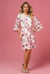 124d885691 modelo cabelo loiro veste vestido evase manga flare floral jany pim padrao Modelo  Cabelo