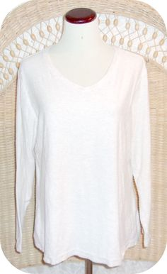 FADED GLORY Womens Top Size XL Beige White Blend Long Sleeve Cotton #FadedGlory #KnitTop #CareerCasual