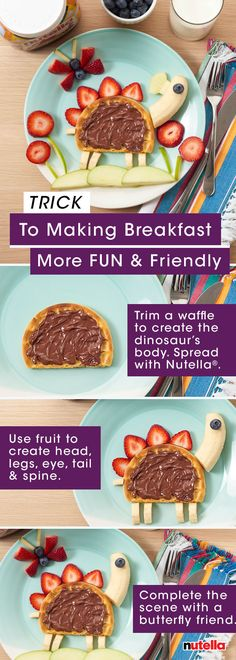 Dino and Butterfly have a trick to making breakfast more fun and friendly. Create these lovable characters with your kids in just a few simple steps.