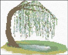 Weeping Willow Tree Free Cross Stitch Pattern Chart
