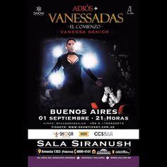 """- POR PRIMERA VEZ EN BUENOS AIRES PRE - VENTA ACTIVA!! - ------------------- VANESSA SENIOR @vanessasenior  ------------------- - Presenta su espectáculo ADIOS  VANESSADAS """" EL COMIENZO"""" - El Viernes 01 de Septiembre en la distinguida @salasiranush a las 21:00 horas es la cita  -  Anticipadas  Palco $250 Mesas $450 Living $600 Apresurate estan volando las anticipadas  - Compra tus anticipadas en  http://ift.tt/2sOy5XU Taquillas de la @salasiranush -  info 1156426674 - ESTO SERA EPICO UNICA…"""