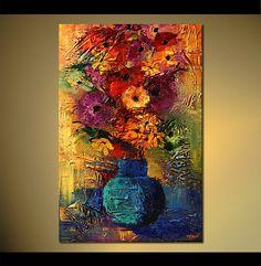 Flores abstractas originales pintura pintura de por OsnatFineArt                                                                                                                                                                                 Más