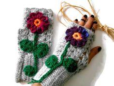 Crochet Mittens, Crochet Gloves, Knit Crochet, Wrist Warmers, Hand Warmers, Grey Gloves, Yarn Bombing, Etsy Crafts, Fingerless Gloves