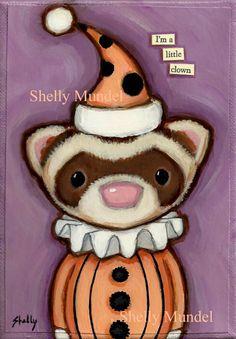 Sable Ferret Folk Art Original Painting, Halloween Clown - Shelly Mundel. $55.00, via Etsy.