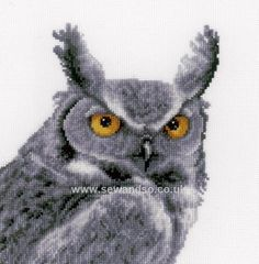 Buy Grey Owl Cross Stitch Kit Online at www.sewandso.co.uk