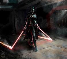 Star Wars Fan Art, Star Wars Concept Art, Star Wars Jedi, Star Wars Rpg, Jedi Sith, Sith Lord, Darth Sith, Female Sith, Asajj Ventress