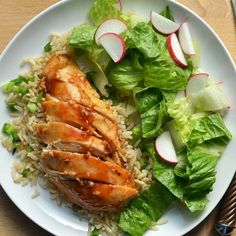 Spicy-Sweet Chicken Breast with Green Onion Rice and Spring Salad Recipe | CookingLight.com