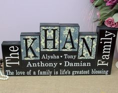 Family Name Blocks, Parents Anniversary Gift, Family Room Decor, New Home Gift, Family Name Decor, Christmas Gifts, 4 Letters Last Name Sign