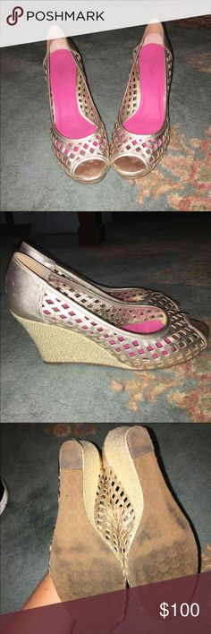 Women's wedges Worn several times but in good condition. Few scuffs here and there. Price is firm; Do not ask me to lower my prices. (It's a good deal for them anyway). Feel free to ask any questions and check out the rest of my shop! :-) Lilly Pulitzer Shoes Heels