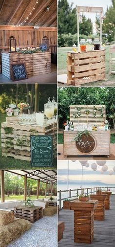 outdoor wedding reception ideas with wooden pallets rustic wedding 24 DIY Country Wedding Ideas with Pallets to Save Budget - EmmaLovesWeddings Wedding Reception Ideas, Outdoor Wedding Decorations, Wedding Planning, Wedding Day, Diy Wedding Bar, Outdoor Weddings, Romantic Weddings, Outdoor Wedding Theme, Outdoor Rustic Wedding Ideas