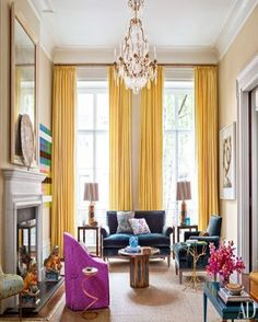Yellow curtains and contrasting upholstery pieces...