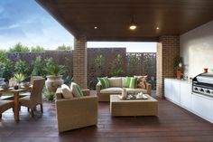QAQ decorative screens make a great outdoor living area wall. This is our 'Cayman' design in compressed hardwood displayed at a Porter Davis display home.