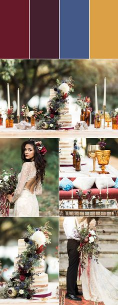 If you've found yourself drawn towards moody color palettes throughout your wedding planning process, this one is for you! Burgundy, aubergine, and muted navy are the sweetest trio of berry hues. When paired with vintage amber glass, your color palette achieves a gorgeous depth that is so aesthetically pleasing