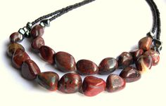 Red Jasper Double Stranded Beaded Statement by LunaEssence on Etsy