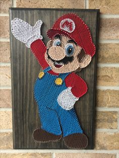 My full body string art image of Mario. Made this for a friend. - My full body. - My full body string art image of Mario. Made this for a friend. – My full body string art image - Nail String Art, String Crafts, Resin Crafts, String Art Templates, String Art Patterns, Crafts To Do, Arts And Crafts, Art Yarn, Thread Art